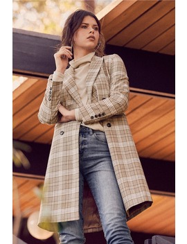 Manchester Moment Tan And White Plaid Coat by Lulus