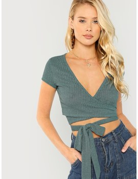 Crop Wrap Rib Knit Tee by Shein