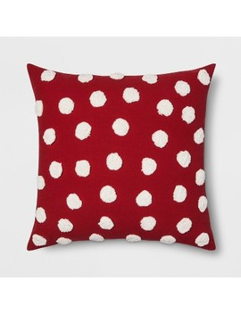 Pom Oversize Square Throw Pillow Red/Cream   Opalhouse™ by Shop Collections