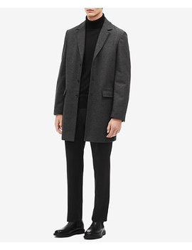 Men's Classic Fit Herringbone Overcoat by Calvin Klein
