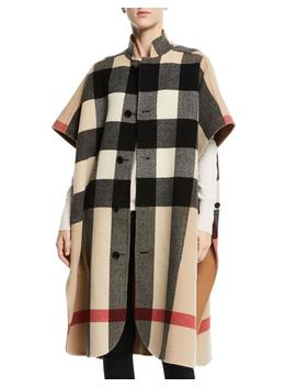 Reversible Check To Solid Cape by Burberry
