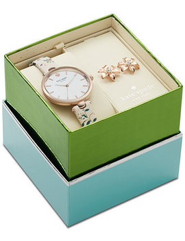 Women's Holland Pink Floral Leather Strap Watch 34mm Box Set by Kate Spade New York
