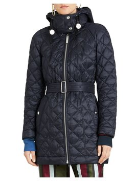 Lightweight Diamond Quilted Coat W/ Detachable Hood by Burberry