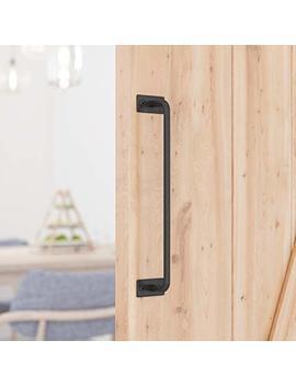 """Smartstandard 12"""" Barn Door Handle Black Flush Square Base Round Handle Pull For Cabinet Door Handle by Smartstandard"""