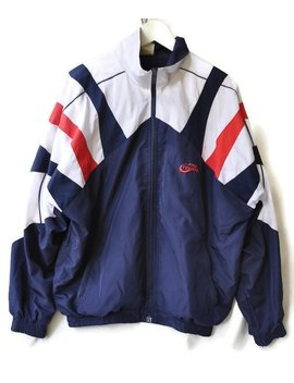 Vintage Windbreaker Striped Multicolor Colorblock Red Blue White Pro Touch Size S by Etsy