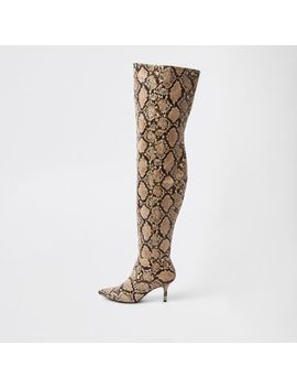 Beige Snake Print Slouch Over The Knee Boots by River Island