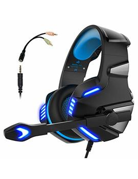 Gaming Headset Ps4 Xbox One, Micolindun Over Ear Gaming Headphones Mic Stereo Surround Noise Reduction Led Lights Volume Control Laptop, Pc, Tablet, Smartphones by Micolindun