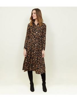Brown Leopard Print Long Sleeve Midi Dress by New Look