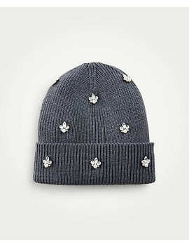 Pearlized Crystal Embellished Knit Hat by Ann Taylor