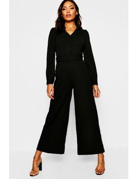 Wide Leg Belted Jumpsuit by Boohoo
