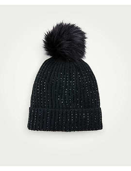 Embellished Pom Pom Hat by Ann Taylor