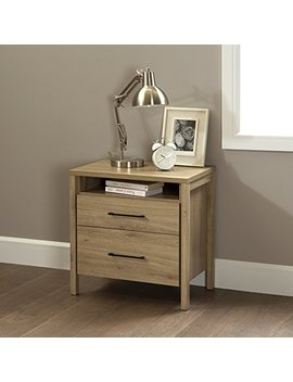 South Shore Gravity 2 Drawer Nightstand, Rustic Oak With Satin Nickel Finish Handles by South Shore