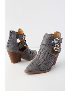 Quilla Steel Grey Woven Cutout Ankle Booties by Lulu's
