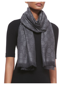 Gg Woven Scarf, Gray by Neiman Marcus