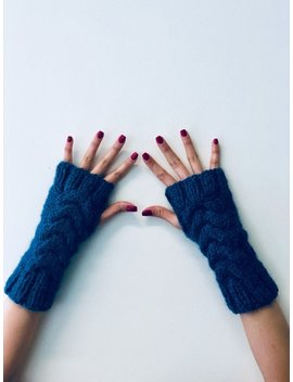 Alpaca Fingerless Cable Gloves   Midnight Blue by Etsy