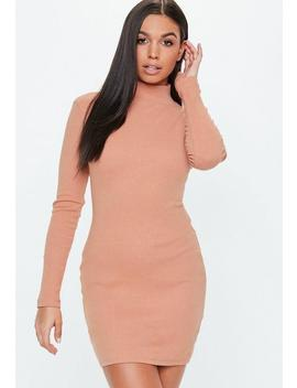 Peach Roll Neck Ribbed Bodycon Dress by Missguided