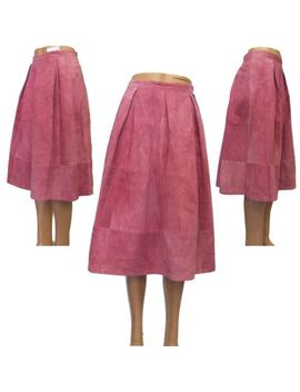 Topshop Leather Skirt Suede Midi Calf Length Pleats Fully Lined Size 6 8 12 by Ebay Seller
