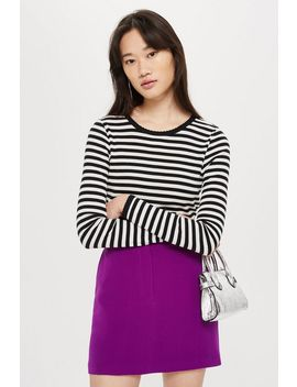Petite Long Sleeve Striped Scallop T Shirt by Topshop