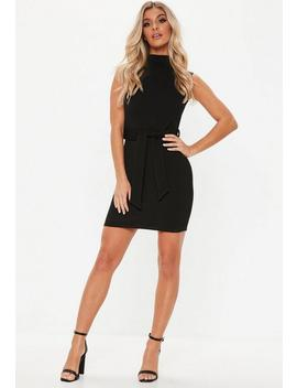 Black High Neck Tie Waist Mini Dress by Missguided