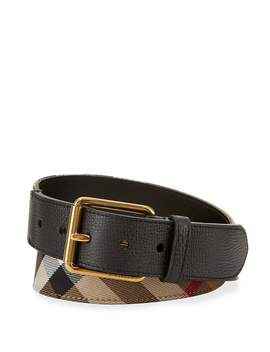 Mark House Check Belt, Camel/Black by Burberry