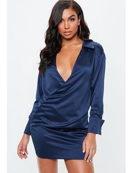 Navy Satin Wrap Shirt Dress by Missguided