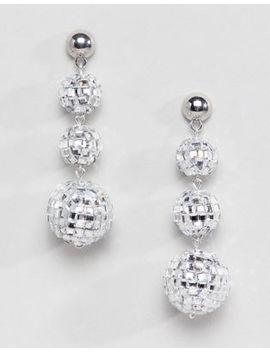 Asos Design Christmas Earrings In Disco Ball Design In Silver by Asos Design
