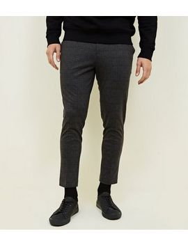 Dark Grey Check Tapered Trousers by New Look
