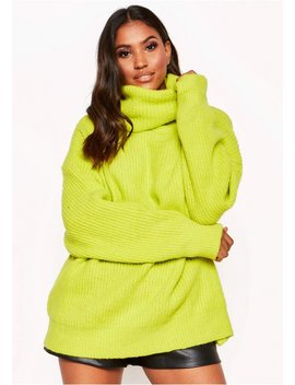 Neon Yellow Roll Neck Oversized Knit Jumper by Missy Empire