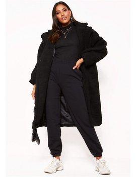 Black Teddy Borg Longline Coat by Missy Empire