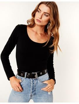 Cotton Blend Long Sleeve Top by Glassons