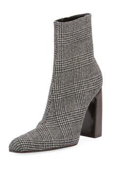 Prince Of Wales Plaid Block Heel Booties by Neiman Marcus