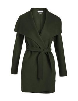 T Tahari Women Ella Double Face Wool Wrap 3/4 Coat Oversized Collar Green by Ebay Seller