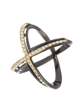 Pave Crystal X Ring by Covet