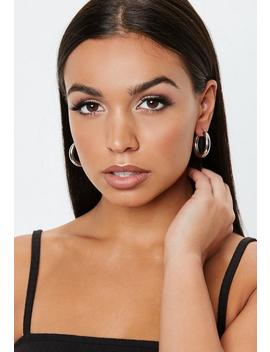 Silver Look Chunky Mini Hoop Earrings by Missguided