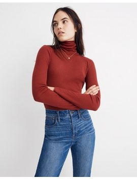 Fine Ribbed Turtleneck Top In Lesley Stripe by Madewell