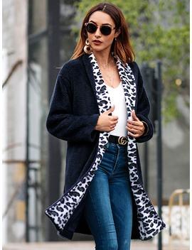 Leopard Pocket Side Teddy Outerwear by Sheinside