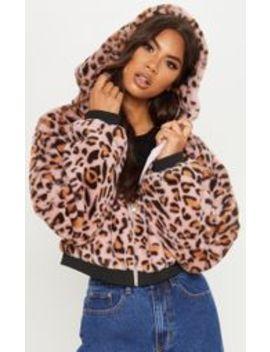 Pink Leopard Faux Fur Hooded Jacket by Prettylittlething