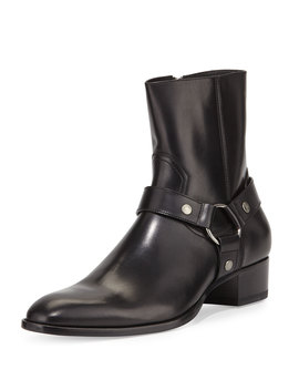 Wyatt Leather Harness Boots, Black by Neiman Marcus