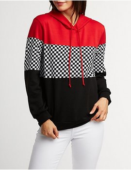 Checkered Pullover Hoodie by Charlotte Russe