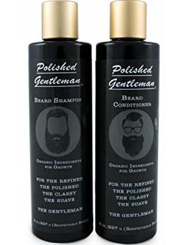 Beard Growth And Thickening Shampoo And Conditioner Set   Beard Care With Organic Beard Oil   Facial Hair Growth For Men   For Younger Looking Beard   Rapid Beard Growth... by Polished Gentleman