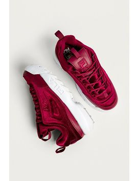 Fila Disruptor Ii Premium Red Velour Trainers by Fila