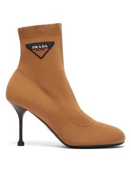 Stretch Knit Logo Appliqué Ankle Boots by Prada