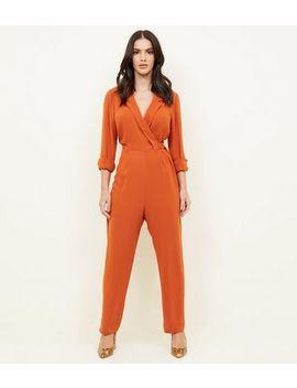 Orange Tuxedo Ring Belt Jumpsuit by New Look