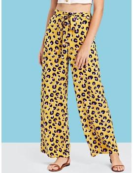Waist Belted Leopard Print Wide Leg Pants by Shein