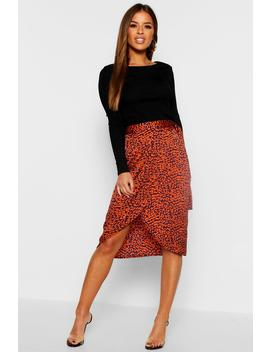 Petite Satin Leopard Print Midi Skirt by Boohoo