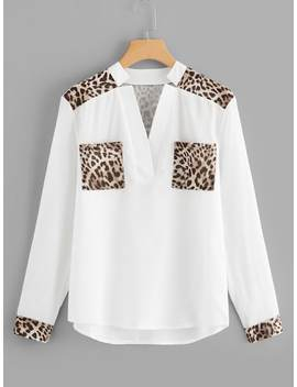 Leopard Panel V Neck Blouse by Sheinside