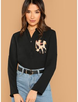 Leopard Pocket Patched Shirt by Shein