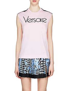 Logo Print Cotton Jersey Tank by Versace