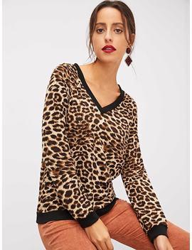 Raglan Sleeve Leopard Print Pullover by Shein