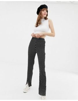 Glamorous Plisse Trousers In Mini Spot by Glamorous
